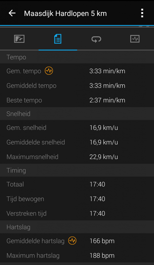 Garmin Connect hardloopstatistieken